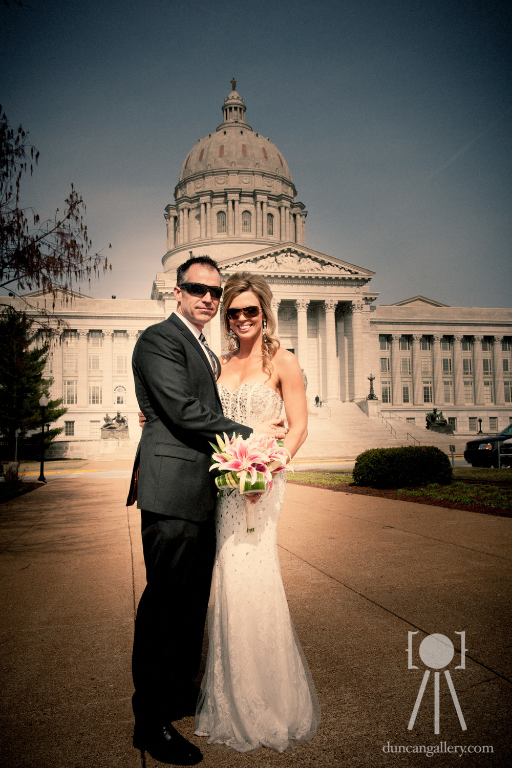 Bride and Groom with sunglasses