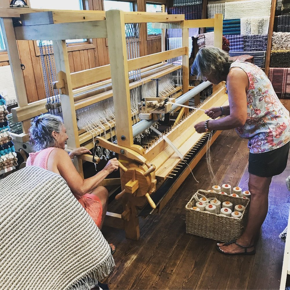 Michele & Ava warping the big loom.