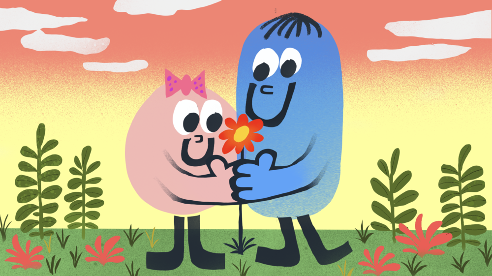Animation for Deutsche Telekom - I had the pleasure to produce the perhaps shortest animated love story for a Telekom tv commercial, telling the story of how a flower sets two hearts on fire in only 42 frames.
