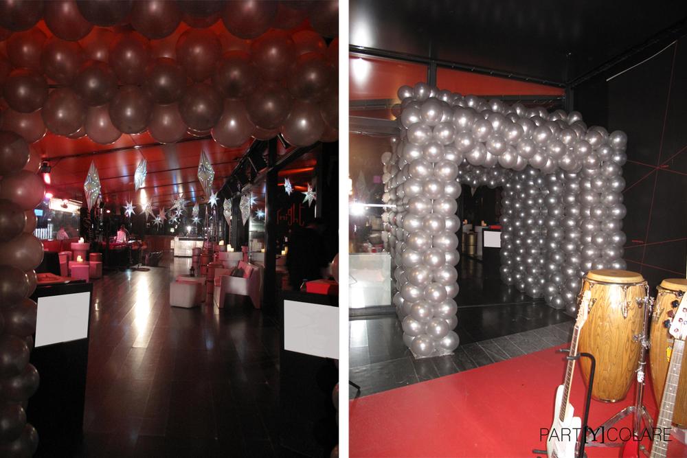 La entrada a la fiesta estaba decoraba por un pasillo de globos. Alucinante.