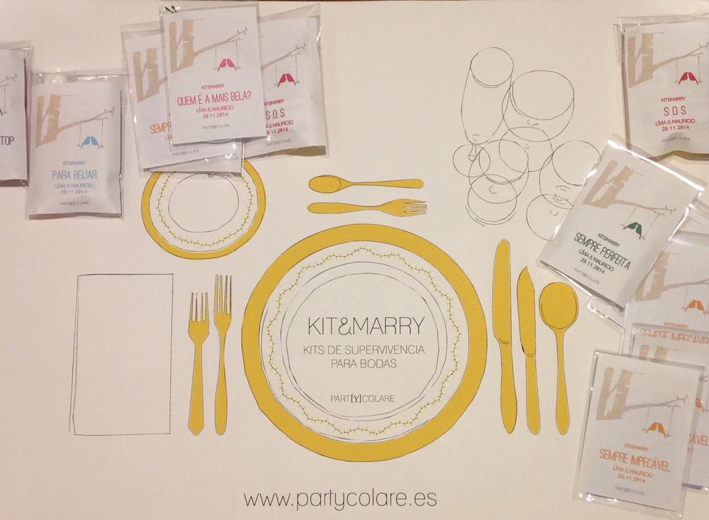 El diseño de los KIT&MARRY estaba personalizado siguiendo la estética de la invitación de boda.
