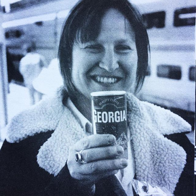 #tbt to 1998 and Georgia Hubley of Yo La Tengo was enjoying a delightful cold drink waiting on a super fast train while on tour in Japan. #yolatengo #georgiahubley #thedrummer #injapan #georgia