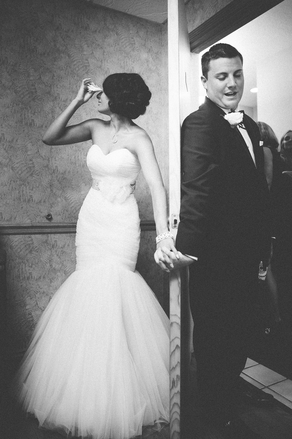 Just minutes before walking down the aisle, Alex read Rebecca the days text and then said a prayer with her...love!!