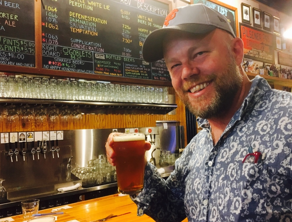 Charlie in Sonoma, trying the Russian River Brewing Co.'s Pliny the Elder