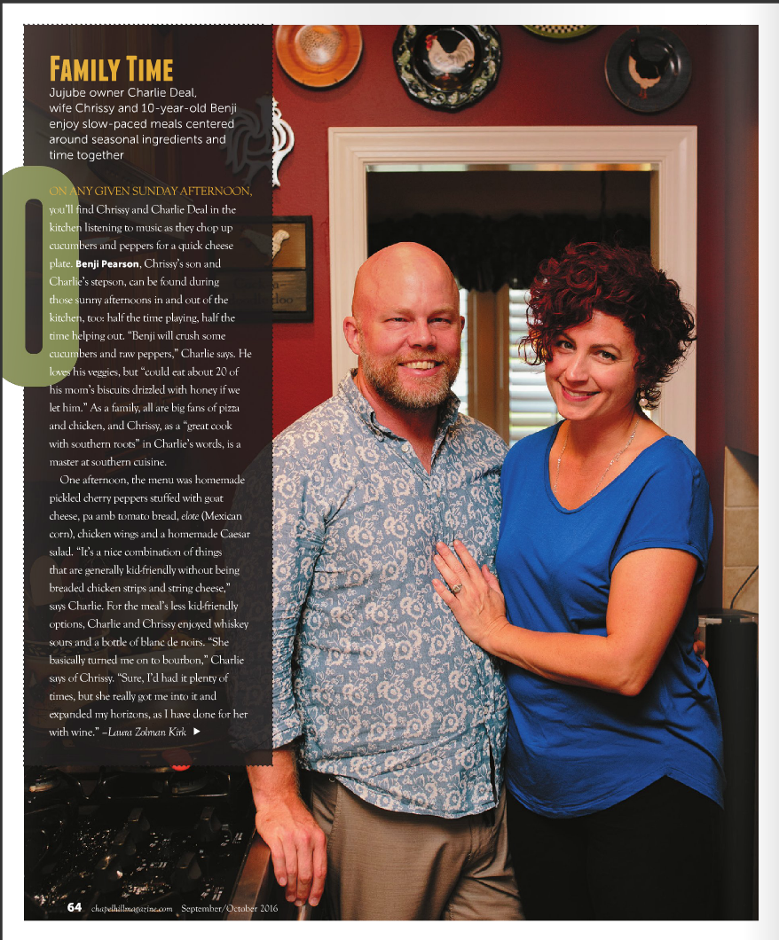 Charlie Deal and family are featured in the Sept/Oct issue of Chapel Hill Magazine.