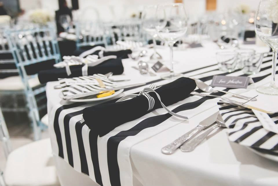 Really. was black and white striped table runners