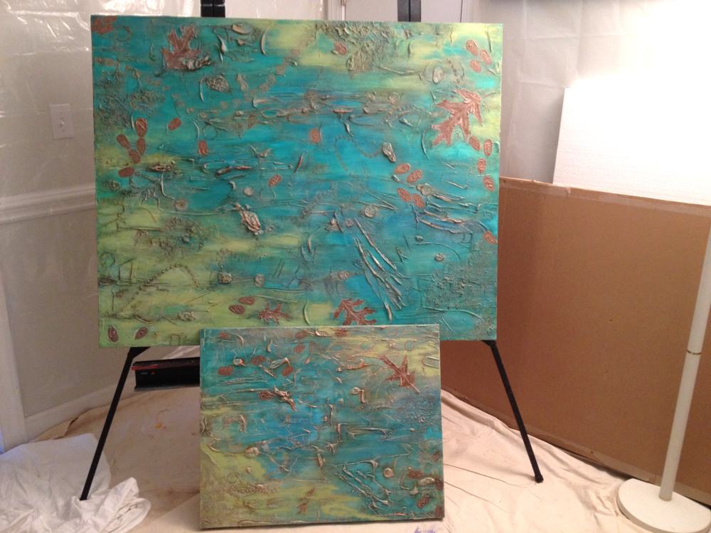 RIVER OF HOPE II commissioned painting on top and RIVER OF HOPE original abstract on bottom.