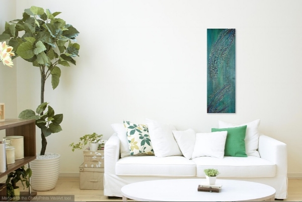 """Hope Renewed - 36"""" x 12"""" Show in a living room."""
