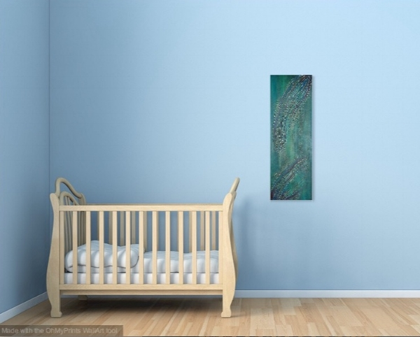 Shown in a room with blue walls.