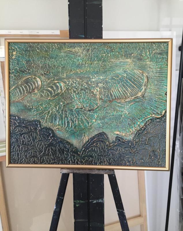 11 x 14 framed canvas panel. Shown in antique gold metal frame.