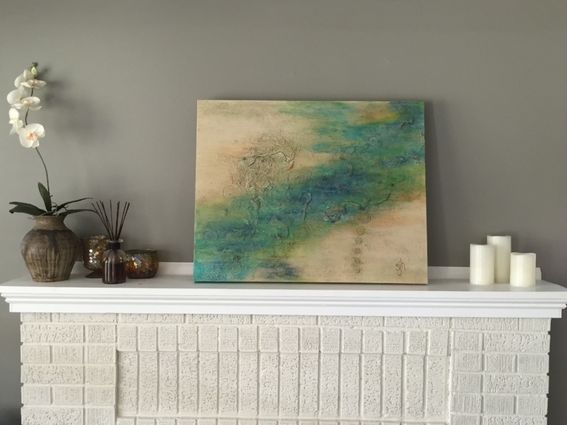 WATER SONG, 24 x 30 x 1.5 in., acrylic mixed-media on canvas