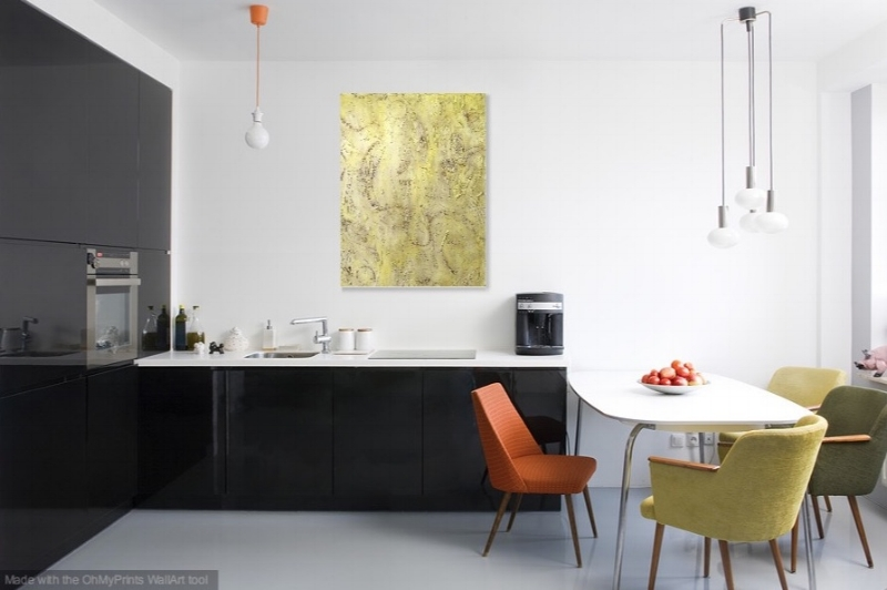 Released   - shown hanging vertical in a kitchen