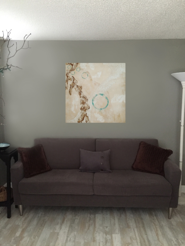 """Calm Pursuit - 36"""" x 36"""" shown in another living room setting."""