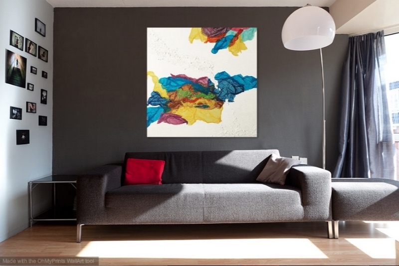Kaleidoscope Dreams   shown in living room with gray wall.
