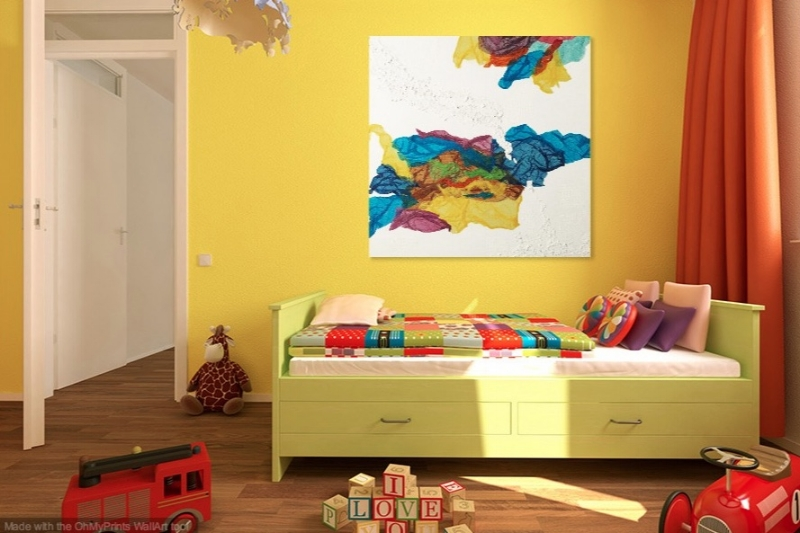 Kaleidoscope Dreams shown in room with yellow walls.