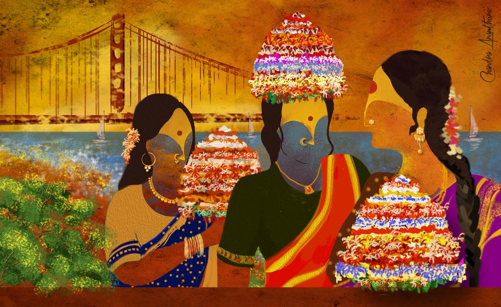 Bay Area Bathukamma Painting