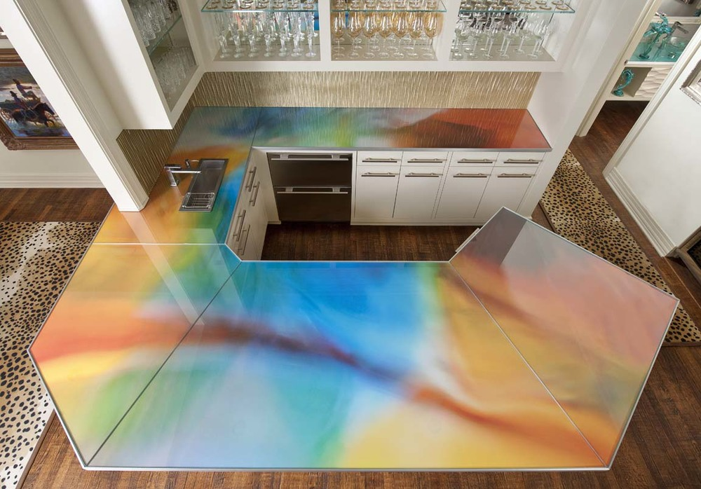 Designer Countertops : Custom Counter Top with Local Artist Photograph Printed on Metal