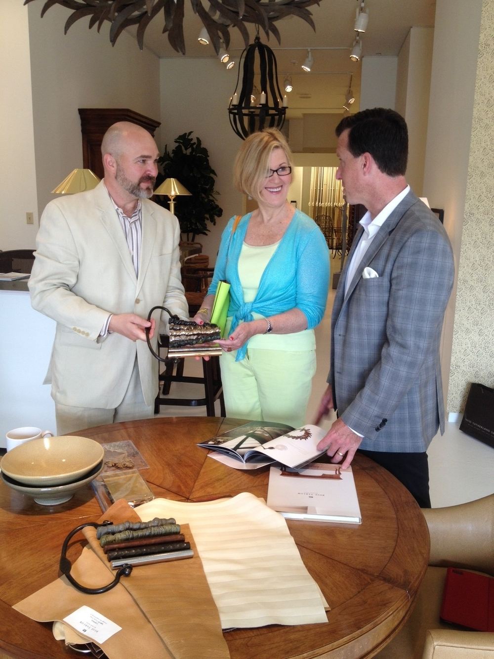 Richard Bettinger, Me, Jobst Blachy looking at the new Rose Tarlow furniture line