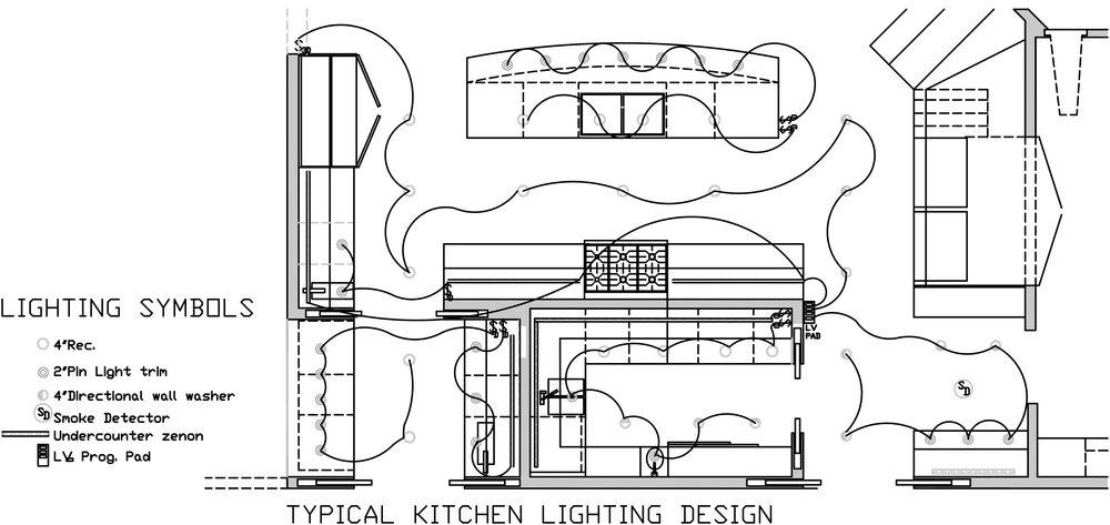This award winning kitchen design illustrates strategic use of the latest in low-voltage lighting