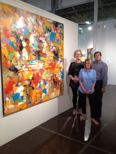 Mary Anne with Mary and Alberto Tomas next to Santana's piece  Perception of Reality