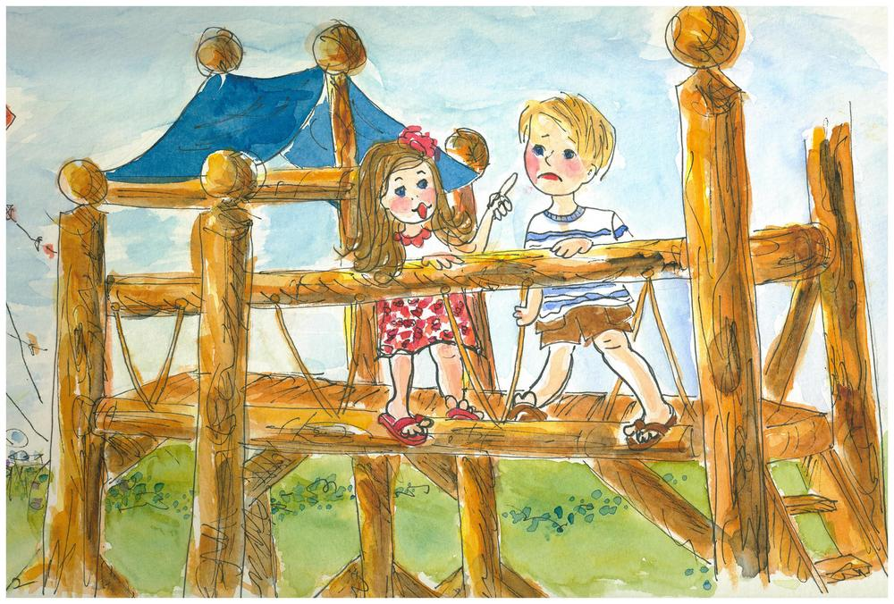 "An illustration by Mary Anne from the book ""Sam's Birthmark""."