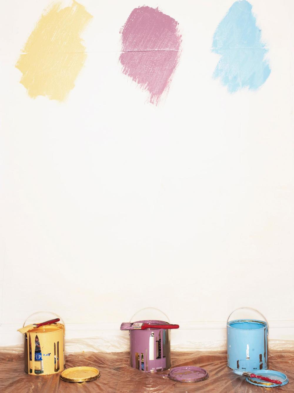 Paint samples on a wall