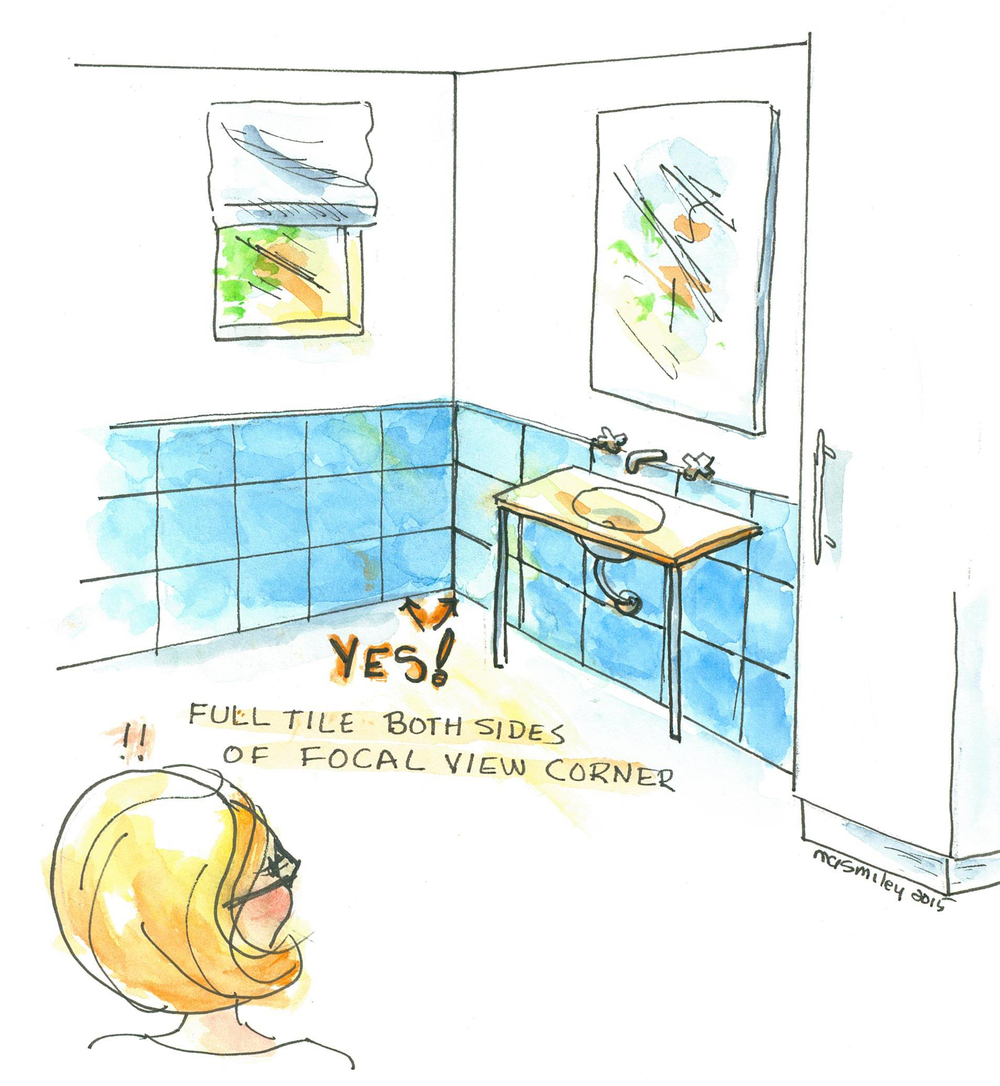 Correct Tile Installation Watercolor Drawing