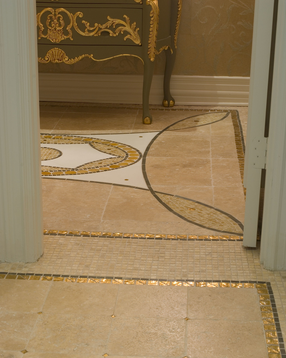 Powder Bath Floor Mosaic Tile Design Detail