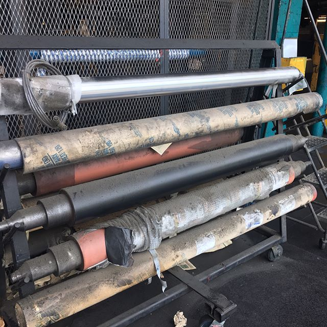 Big rollers for big presses, thanks to @ericsquitz for the tour of the Boston Globe during the final days of printing in Boston.