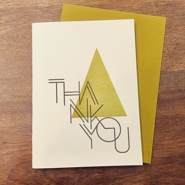 "I don't print much of my own ""product"" here, but Thanksgiving week seems like a good time to offer up some of these thank you cards that I printed a while back. A crisp $20 gets five of these mailed to you - DM for payment info. . . . #letterpress #stationery #givethanks #greetingcards"