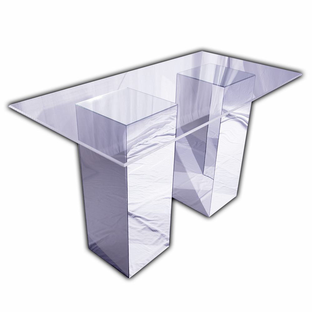 "Reflection Bar Table (Mirror Bases with Clear Acrylic Top). 3' x 6' Top. 16"" x 16"" x 42"" Bases."
