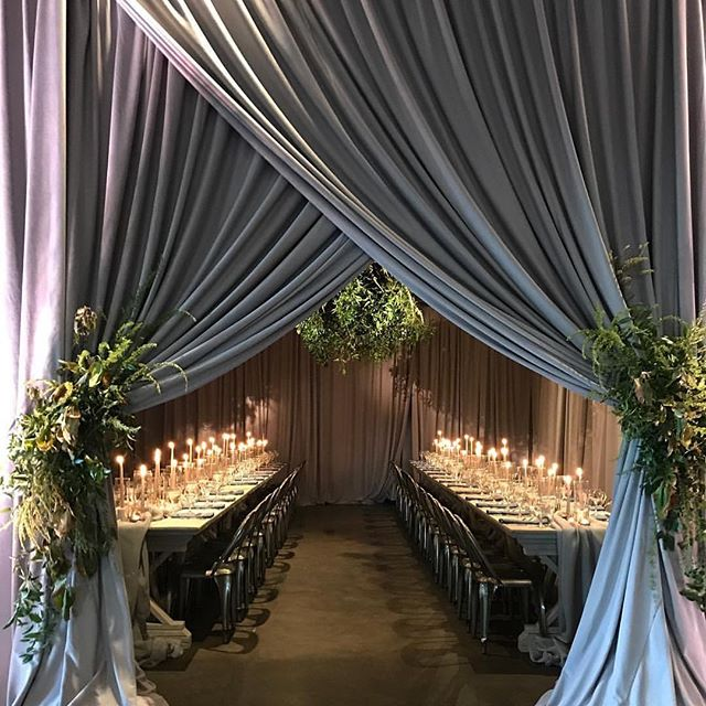 How's this for a intimate rehearsal dinner entrance? 😍😍 #nashvilleevents #rehearsaldinner #eventdecor #drapery #uniqueeventelements