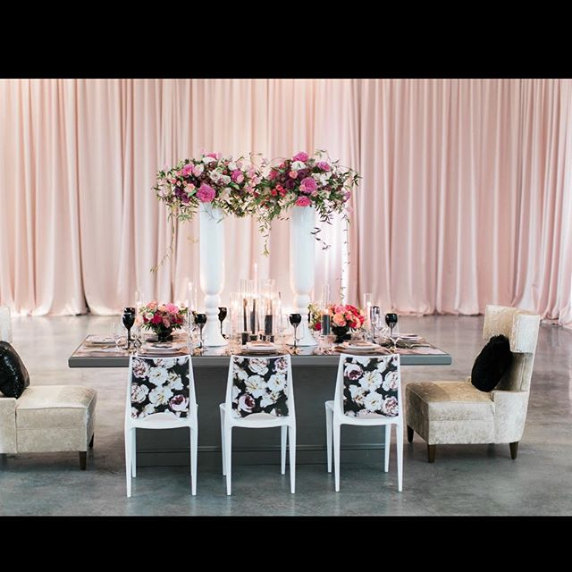 Our Blush Satin providing just the right amount of color for this elegant setup by @edgedesigngroup #pipeanddrape #eventdecor #eventdrapery #subtlehighlights #weddings #unique #events #uniqueeventelements