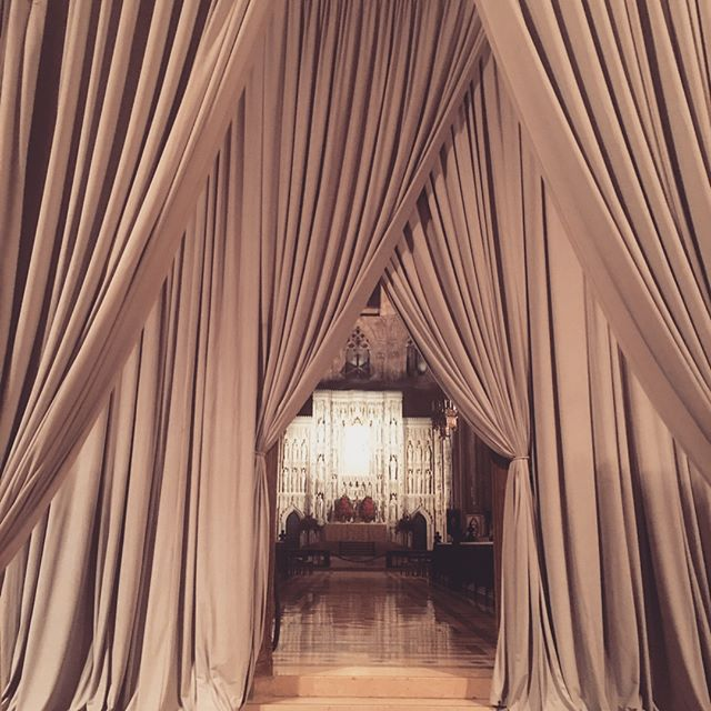 Our Gray Velour going up 22' providing an entrance down the aisle and serving as a cocktail hour/reception divider #pipeanddrape #eventdrape #eventdecor #dcweddings #washingtondcevents #uniqueevents #uniqueeventelements
