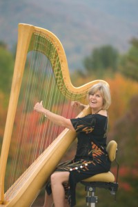 Here's Judy with her full size harp!