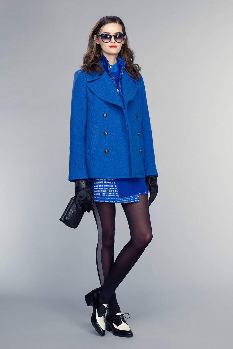 banana republic fall 2015 ootd outfit blue jacket skirt
