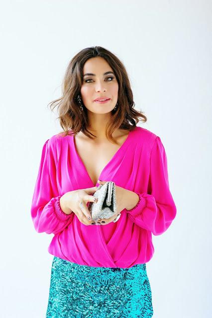 pink shirt sequin skirt holiday winter fashion editorial glitter christmas ootd