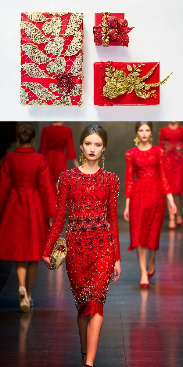 diy christmas holiday gift wrap fashion designer inspired dolce gabbana red gold