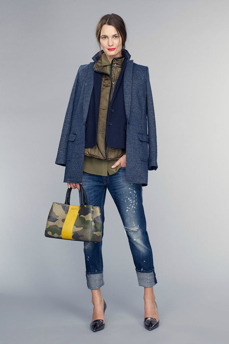 banana republic fall 2015 ootd outfit denim jeans and camo layers