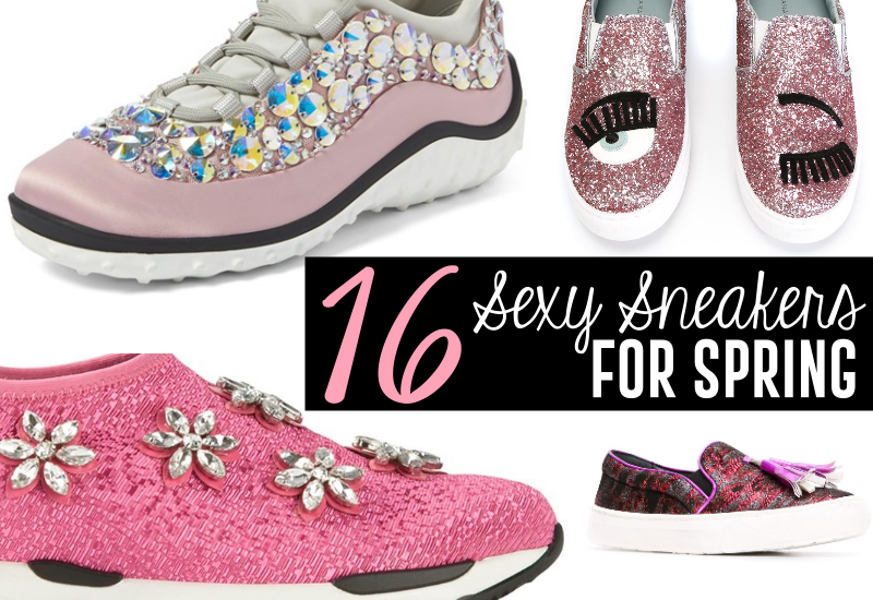 sexy pink embellished sneakers for spring