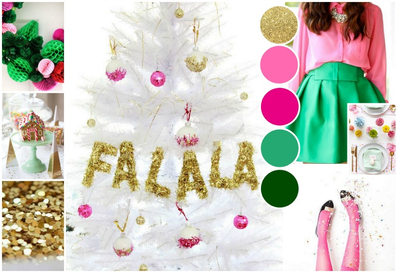 pink gold green glitter holiday christmas moodboard
