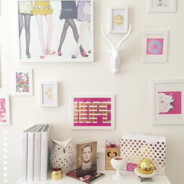 cute office pink gold fashion stylist desk design style