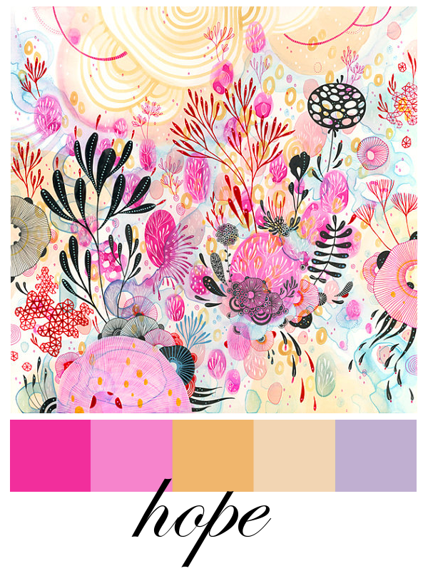 pink color combo art collage moodboard