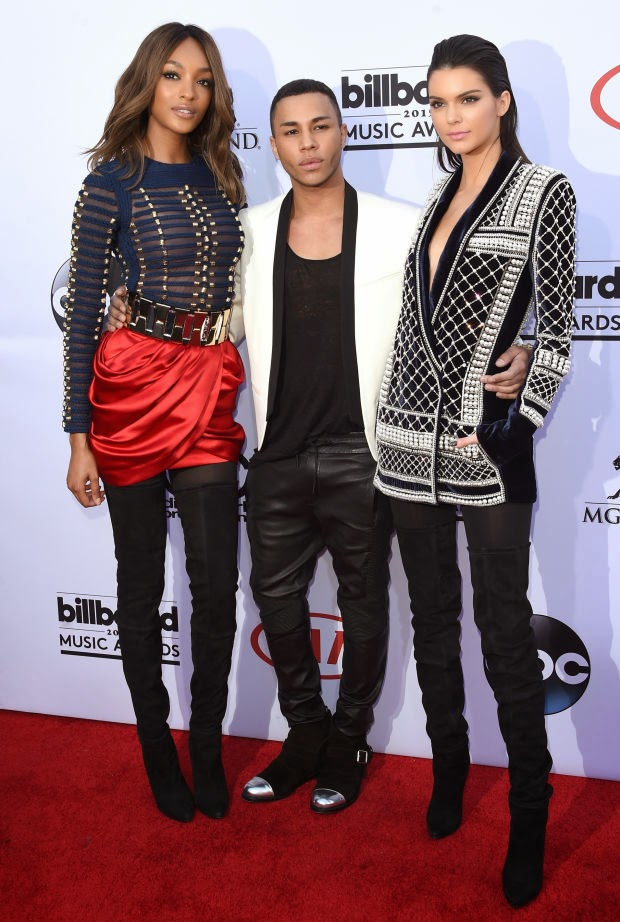 BILLBOARD AWARDS RED CARPET LAS VEGAS BALMAIN H&M OLIVIER ROUSTEING JOURDAN DUNN KENDALL JENNER