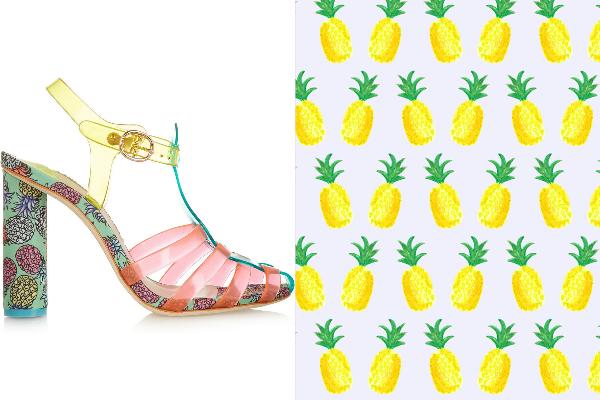 watermelon bag bando heels sophia webster pineapple skirt shoes summer