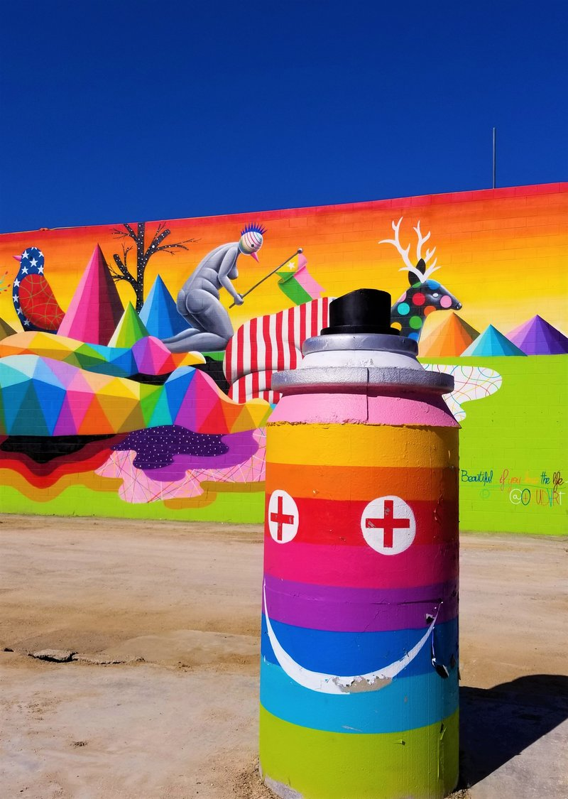 downtown-las-vegas-dtlv-rainbow-street-art-life-is-beautiful-mural-Okuda-San-Miguel-spray-paint-can