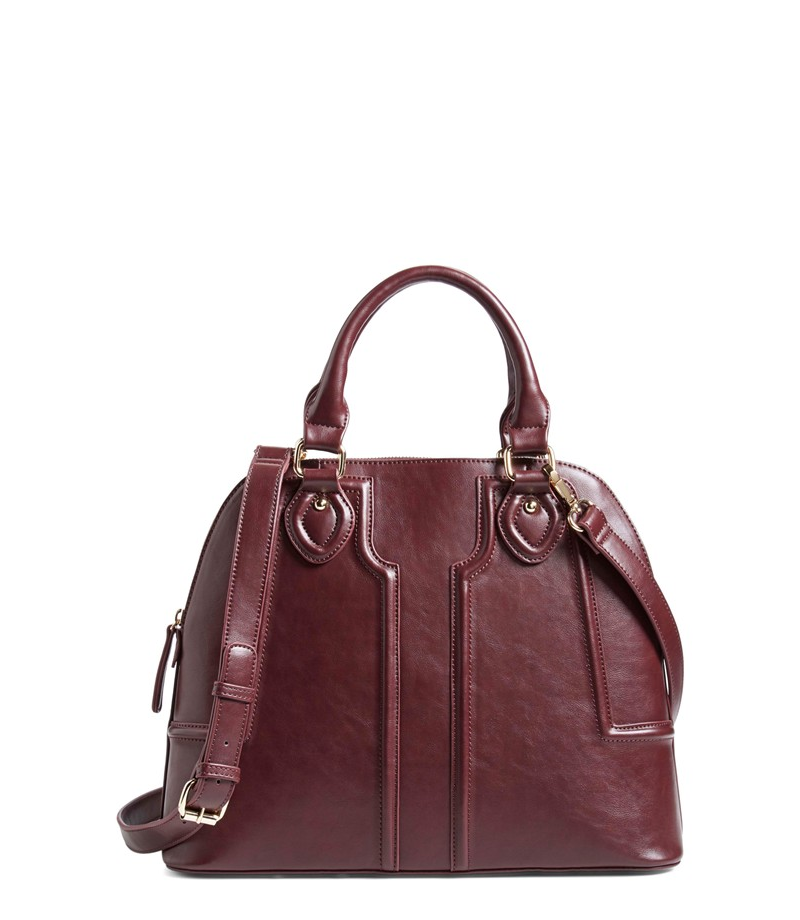 sole society structured faux dome satchel oxblood red must have wardrobe staples for fall