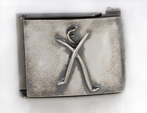 A fully custom belt buckle created for a trainer at FX Studios. The symbol is the FX logo.