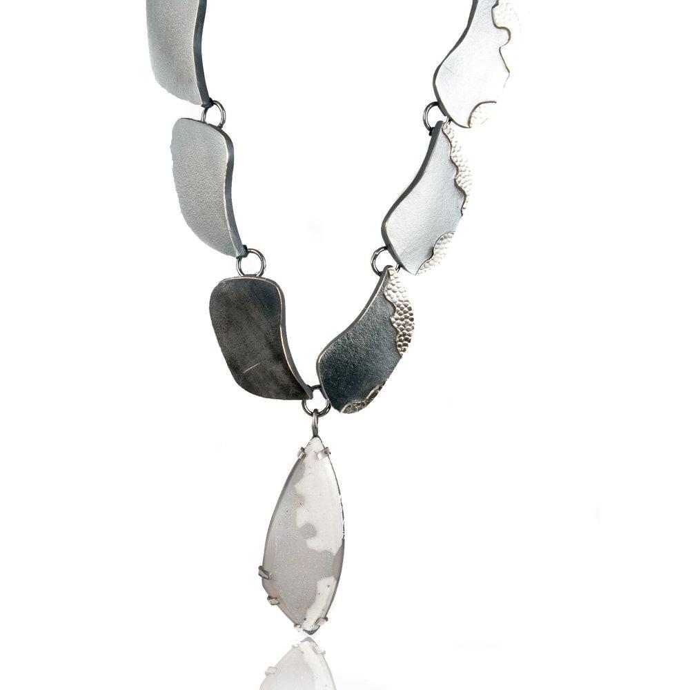 Snowcap drusy teardrop necklace