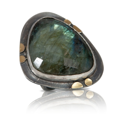 A great statement ring.  This faceted labradorite  is more green than blue.